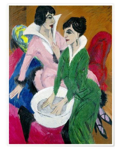Premium poster Two women with washbasin; The sisters