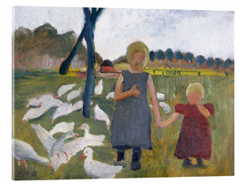 Acrylic glass  Children with geese at a drawing well - Paula Modersohn-Becker