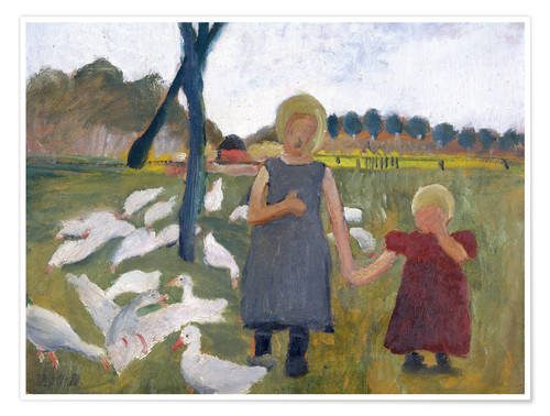 Premium poster Children with geese at a drawing well