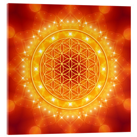 Acrylic glass  Flower of Life - Golden LightEnergy - Dolphins DreamDesign