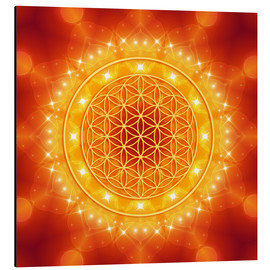 Alu-Dibond  Flower of Life - Golden LightEnergy - Dolphins DreamDesign