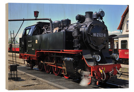 Wood print  historical steam train Molli - FineArt Panorama