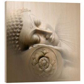 Wood print  Sleeping Buddha - Christine Ganz