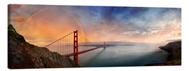 Canvas  San Francisco Golden Gate with rainbow - Michael Rucker