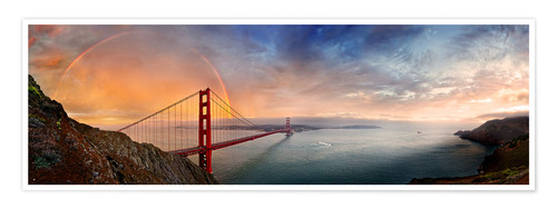 Premium poster San Francisco Golden Gate with rainbow