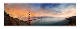 Poster  San Francisco Golden Gate with rainbow - Michael Rucker