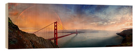 Wood print  San Francisco Golden Gate with rainbow - Michael Rucker