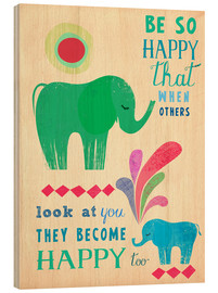 Wood print  Happy elephants - Elisandra Sevenstar