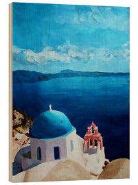 Wood print  Santorini - View from Oia - M. Bleichner