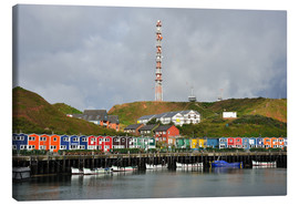 Canvas print  Colorful crab shacks Helgoland - FineArt Panorama