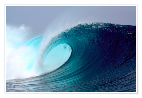 Premium poster Tropical blue surfing wave