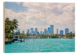 Wood print  Skyline Miami - Stefan Becker