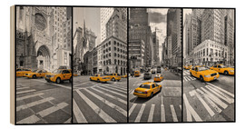 Wood print  New York Cab Collage - Marcus Klepper