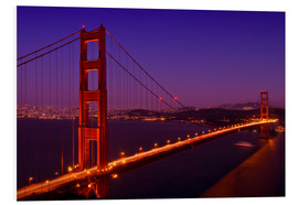 Foam board print  Golden Gate Bridge by Night - Melanie Viola