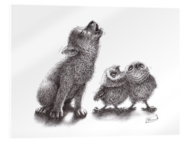 Acrylic print  Howling wolf meets howling owls - Stefan Kahlhammer