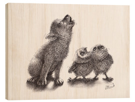 Wood  howling wolf meets howling owls - Stefan Kahlhammer