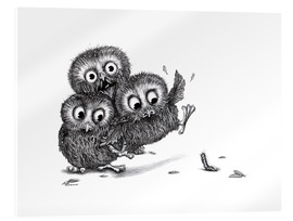Acrylic print  Three Owls and a Monster - Stefan Kahlhammer
