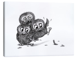 Canvas print  Help, three owls and a monster - Stefan Kahlhammer