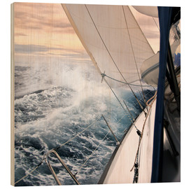 Wood print  Sailing through the storm - Jan Schuler