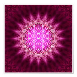 Premium poster Flower of life - symbol harmony and balance - red