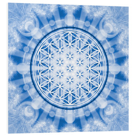 Foam board print  flower of life blue - symbol harmony and balance - blue - Lava Lova