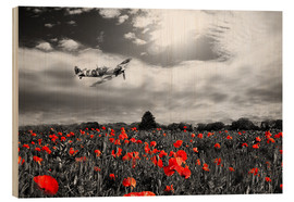 Wood print  Spitfire poppy pass - airpowerart