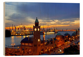 Wood print  Gangplank Hamburg - sunset - bildpics