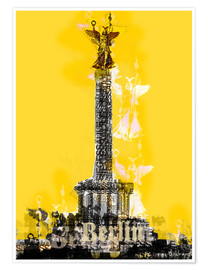 Premium poster Berlin Victory Column (on Yellow)