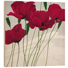 Wood print  Poppies swayed by the wind - Franz Heigl