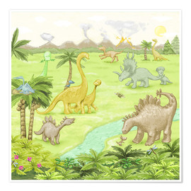 Poster  dinosaur landscape - Fluffy Feelings