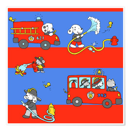 Poster  animal fire brigade - Fluffy Feelings