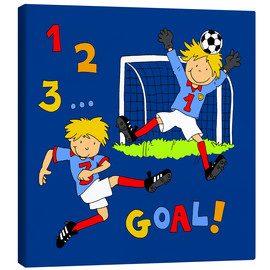 Canvas print  boys playing soccer, Goal! - Fluffy Feelings