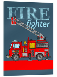 Acrylic print  fire fighter fire truck - Fluffy Feelings
