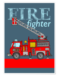 Poster  fire fighter fire truck - Fluffy Feelings