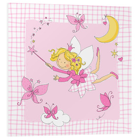 Foam board print  flying fairy with butterflies on checkered background - Fluffy Feelings