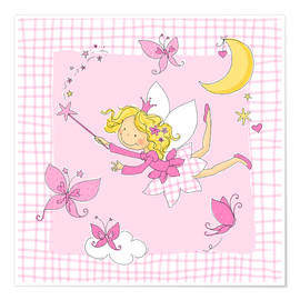 Poster flying fairy with butterflies on checkered background