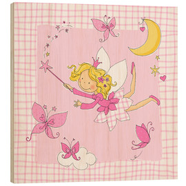 Wood  flying fairy with butterflies on checkered background - Fluffy Feelings
