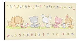 Aluminium print  baby pet animals with alphabet and numbers - Fluffy Feelings
