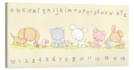 Canvas print  baby pet animals with alphabet and numbers - Fluffy Feelings