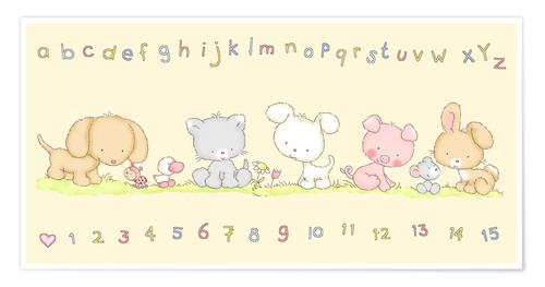 Poster baby pet animals with alphabet and numbers