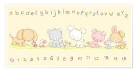 Premium poster  baby pet animals with alphabet and numbers - Fluffy Feelings