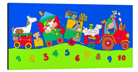 Alu-Dibond  tractor train with farm animals and numbers - Fluffy Feelings