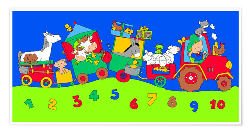 Poster tractor train with farm animals and numbers