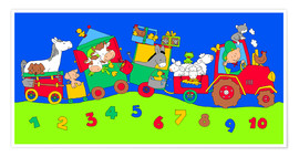 Premium poster  tractor train with farm animals and numbers - Fluffy Feelings