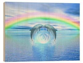 Wood  Dolphins Rainbow Healing - Dolphins DreamDesign