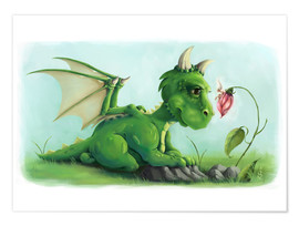 Premium poster  Dragon with a little fairy - Alexandra Kreipl