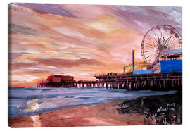 Canvas print  Santa Monica Pier at Sunset - M. Bleichner