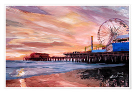 Premium poster  Santa Monica Pier at Sunset - M. Bleichner