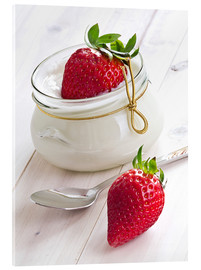Acrylic print  Fresh strawberries with curd - Edith Albuschat