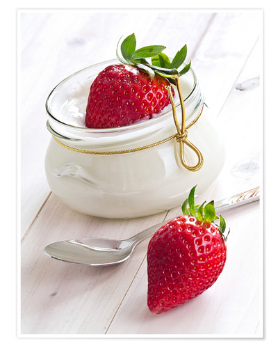 Premium poster Fresh strawberries with curd